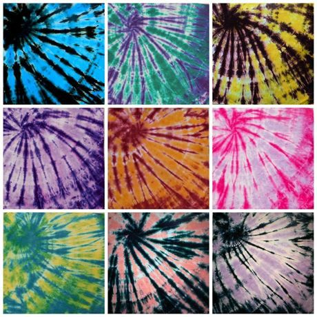 Tie Dye Bandana 100% Cotton You Choose Color  All of our Tie Dye Bandanas are made of quality 100% Cotton fabric for durability, and measure in at 25x25, (no wimpyness, we promise). Nine brilliant color combinations to choose from. Please let us know your color preferancein the comments section at checkout.  	 Turquoise andBlack 	 Purple and Emerald 	 Truffle and Yellow 	 Purple and Plum 	 Oxblood and Orange 	 Dragon Fruit and Plum 	 Cerulean Blue and Yellow 	 Coral and Black 	 Plum and…