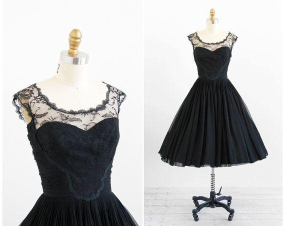r e s e r v e d vintage 1950s dress / 50s black por RococoVintage