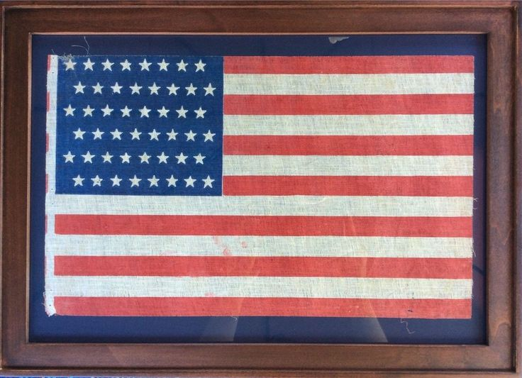 48 Star flag in Staggered Rows On An Antique American Vintage Flag 1912-1918