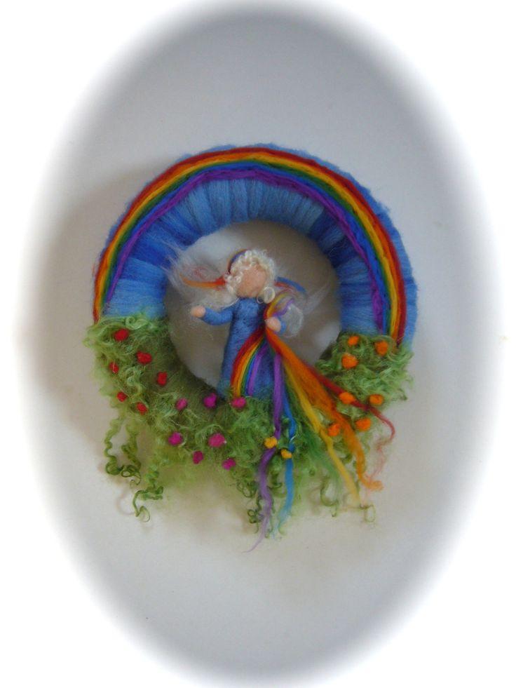Rainbow Wreath.Rainbow Fairy . Needle Felted. van FilzArts op Etsy