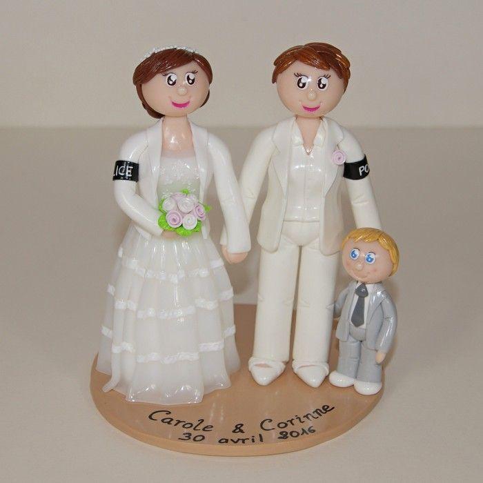 Wedding cake topper / figurines de mariage personnalisées / mariage gay lesbien / gâteau mariage