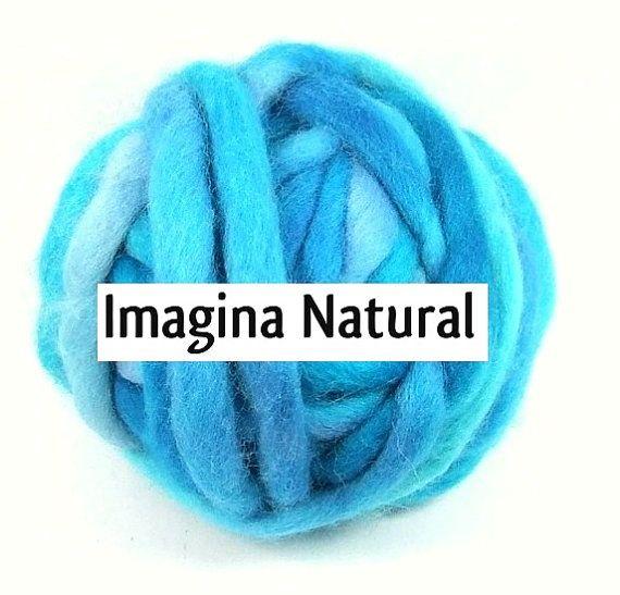 Corredale Blue Super Chunky Roving Yarn Wool by ImaginaNatural
