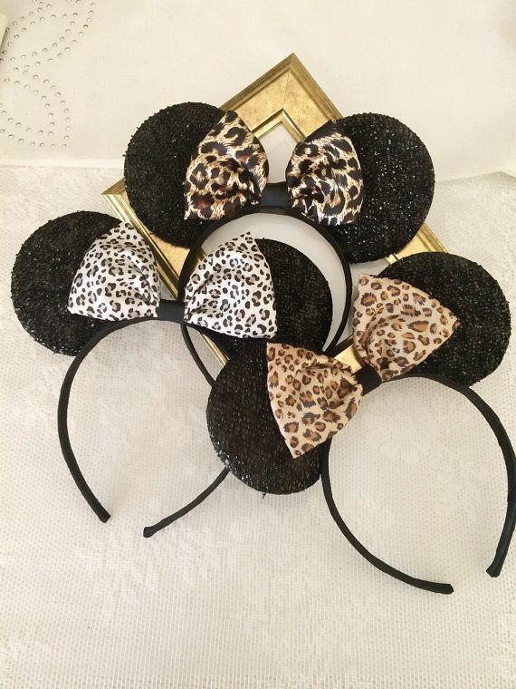 Minnie Ears and Cheetah Prints Bow Headbands in Black, three animal print patterns to select from