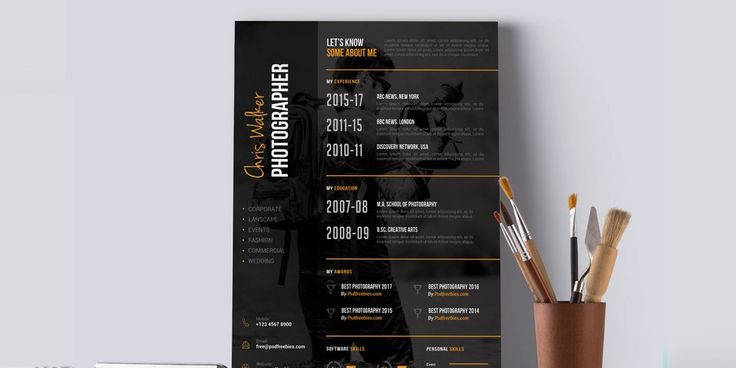 Photographer Resume CV Template PSD Ultimate Collection of Free - photographer resume