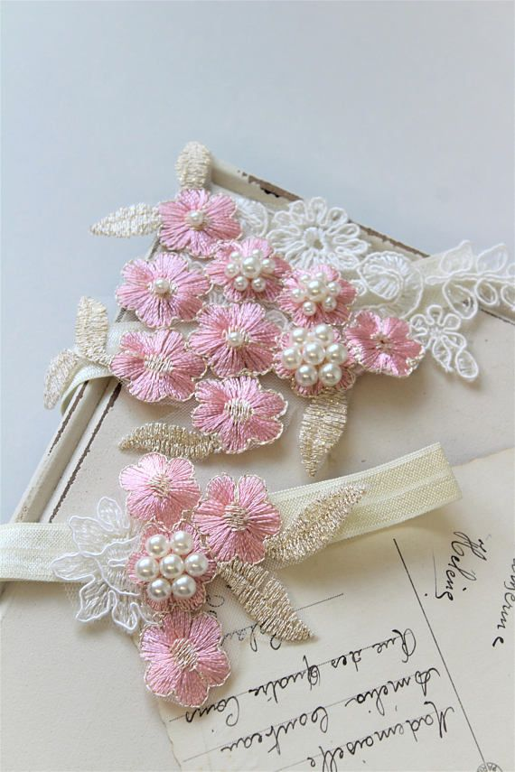 Gold Pink Bridal Garter Wedding Garter Lace garter
