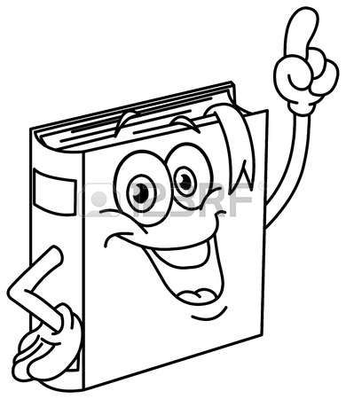 bambini a scuola da colorare: Delineato libro a fumetti che punta con il dito. Illustrazione da colorare pagina.