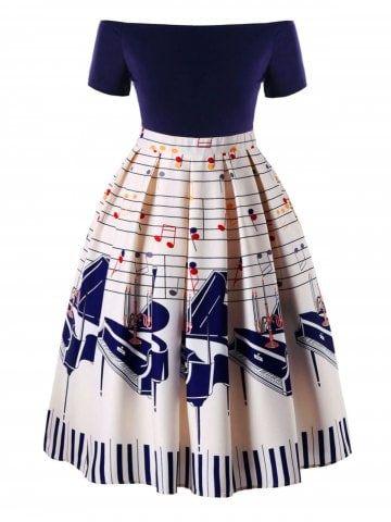 7c169e6bd Plus Size Music Notes Print Swing Dress   Brooke's pics in 2019 ...