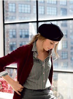 striped button down. Dark red cardigan. Black beret. Simple and cute outfit.