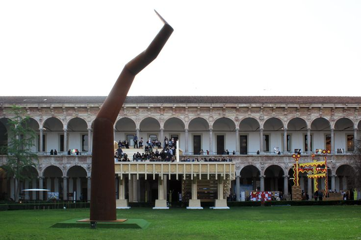 michele de lucchi constructs giant wooden staircase in a milan university courtyard  www.designboom.com