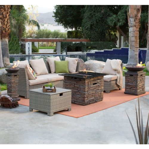 Coral Coast South Isle Natural Sectional Set With Coronado Gas Fire Pit  Table   Conversation Patio