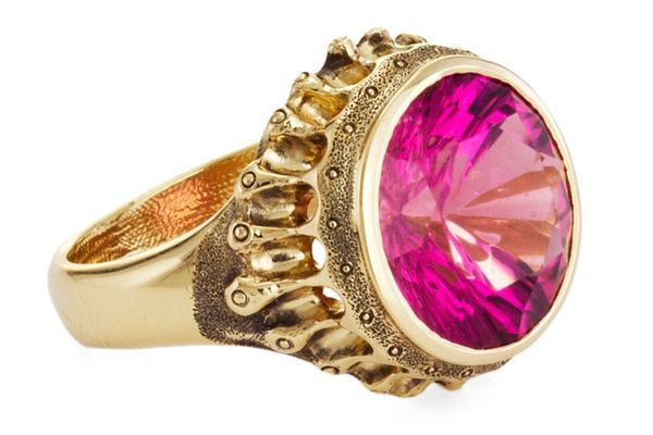 Perfect for Pantone's 2014 Color of the Year—Radiant Orchid: Ring in 18-karat yellow gold featuring a pink tourmaline center stone by Audrius Krulis, New York.