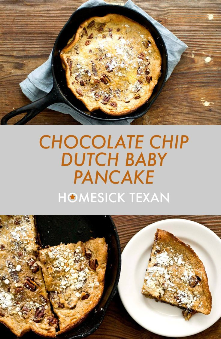 Dutch baby skillet pancake loaded with chocolate chips and ...