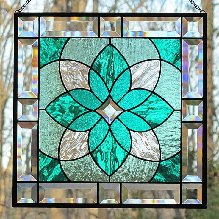 Teal Sea Green Stained Glass Beveled Hanging Panel