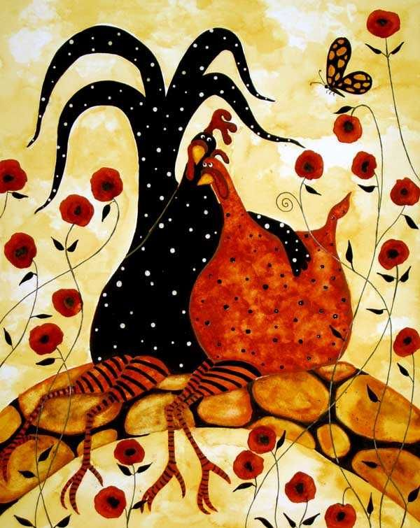 Chick sweethearts: Chicken, Farm Animals, Folk Art, Roosters, Google Search, Debi Hubbs, Folk Print, Artist