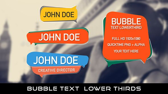 Bubble Text Lower Thirds  12 Lowerthirds   Full HD 1920×1080   Quicktime PNG alpha codec   Each 10 seconds.  Available in 3 colors : Green, Blue, Yellow  #envato #videohive #motiongraphic #aftereffects #animatedlowerthird #broadcast #bubble #bubbletext #caption #cartoon #corporate #flat #modern #professional #simple #television #text #title #youtube