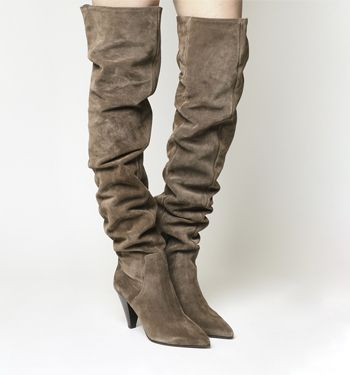 Office, Kone Slouch Over the Knee Boots, Taupe Suede