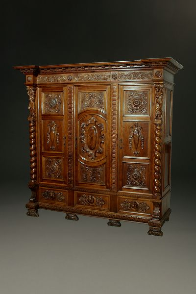 ~ Late 19th c. Hand Carved in Walnut Italian Armoire Baroque Style c. 1890 ~ beauchampantiques.com