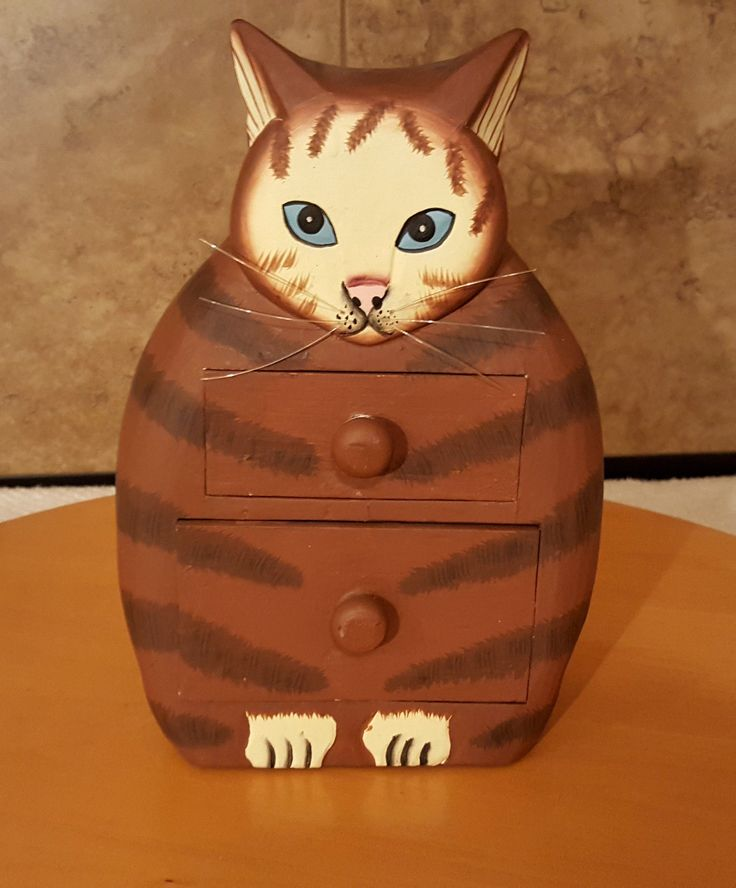 Cat Brown Dresser Kitten Statue Hand Carved Painted Solid Wood Folk Art | eBay
