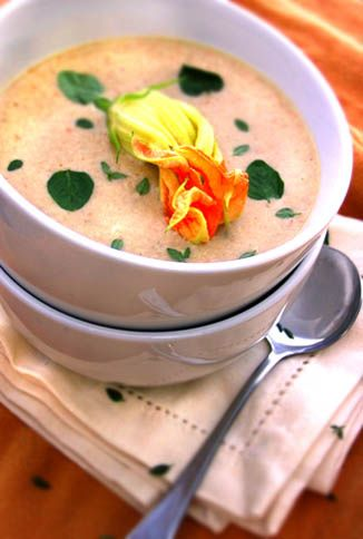 Squash Blossom and Gruyere Soup with Herb and Pinenut-Stuffed Blossom Garnish Have you ever noticed how food, like clothing, is subject to the same endlessly cyclical tides of popularity? Have you ...