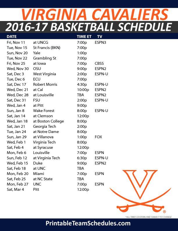 Virginia Cavaliers Basketball Schedule 2016-17 . Print Here - http://printableteamschedules.com/NCAA/virginiacavaliersbasketball.php
