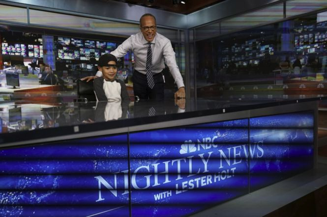 "A local 7-year-old named Jaden had a viral video moment when he told KGW's Drew Carney that he wasn't on TV news as much as Lester Holt, anchor of ""NBC Nightly News."" On Tuesday, Jaden and his family got to meet Holt himself, on a visit to the newsman's NBC News offices and ""Nightly News"" studio."