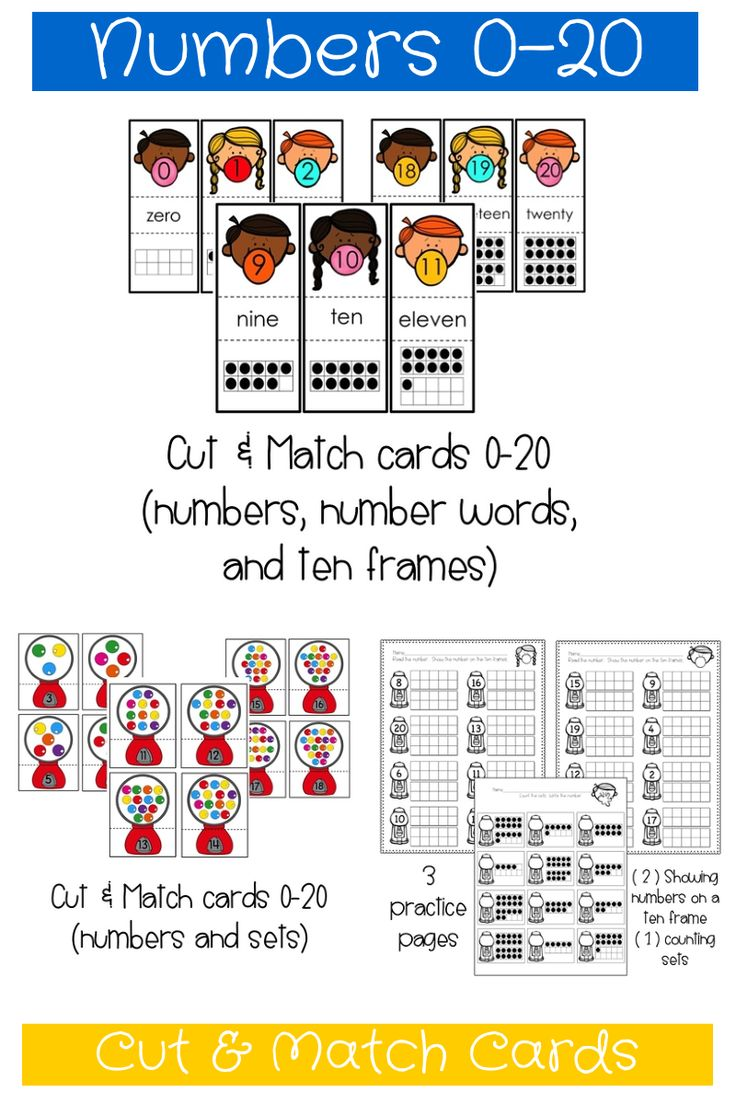 Numbers 0-20 Cut & Match Cards:  matching numbers to sets AND numbers, number words, and ten frames!  Also includes three practice pages! $