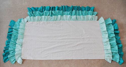 Ruffled Crib Skirt Tutorial, super easy. Bet the same design would work for a Bed Skirt