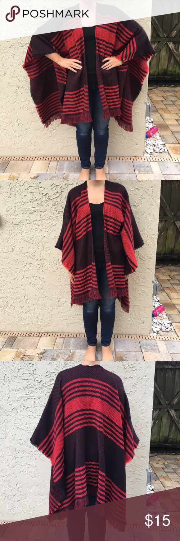 Winter poncho/Shaw Black, Maroon, and Red Shaw, thick and perfect for winter Merona Other