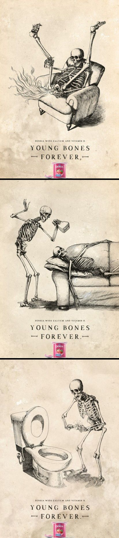 """""""Danone Densia with calcium and vitamin D. Young bones forever."""""""