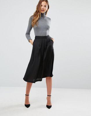 Mango Satin Midi Skirt
