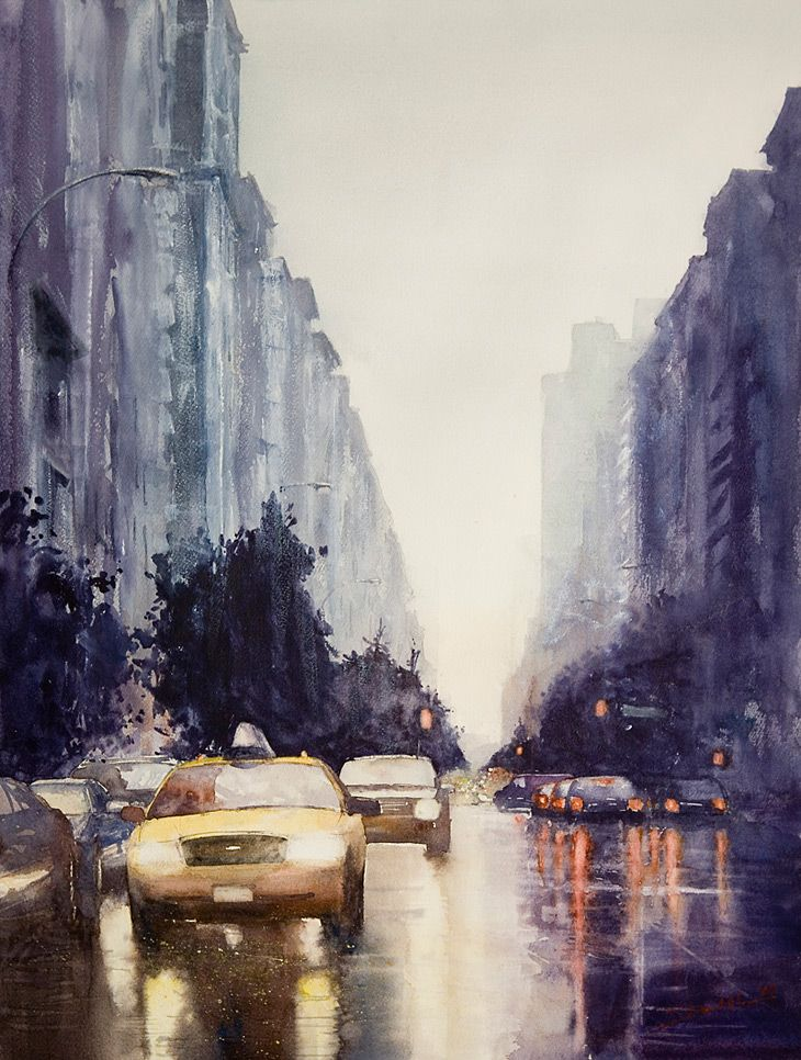 love this--reminds me of the opening scene of Breakfast at Tiffany's. Watercolor by Minh Dam