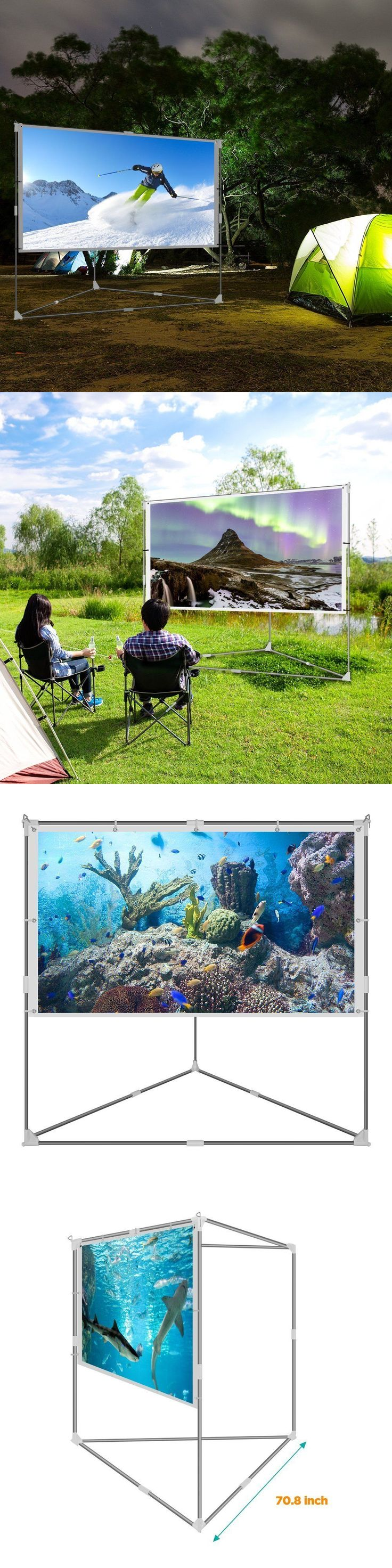 Projection Screens and Material: Outdoor Projector Screen Video Movie Portable Mobile Large Home Backyard Patio BUY IT NOW ONLY: $147.99