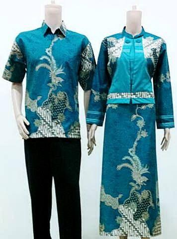Baju Batik Sarimbit Gamis Keyla Burung Toska