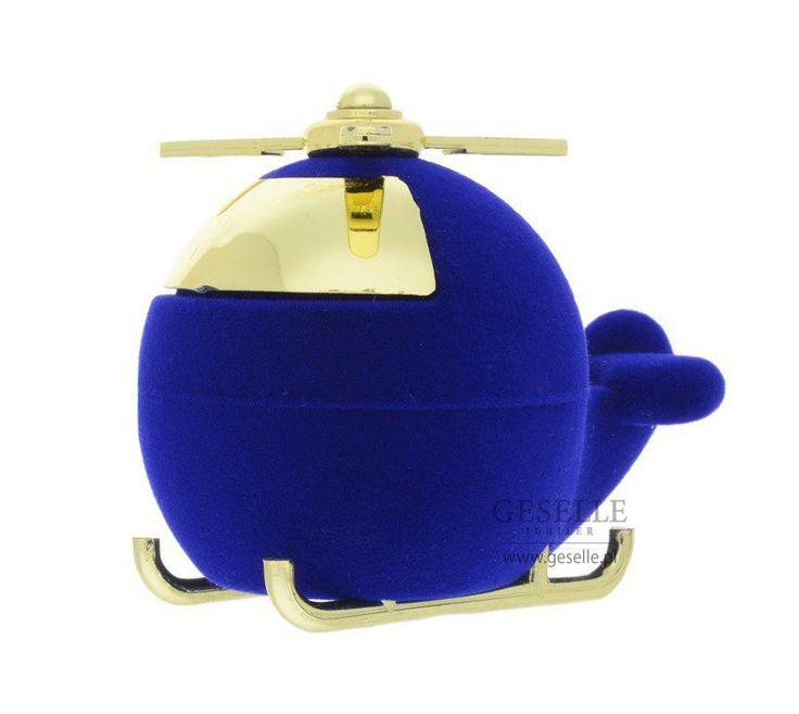 Niebieski opakowanie na biżuterię - uroczy helikopter ozdobi każdy prezent!   NA PREZENT \ Opakowania na biżuterię od GESELLE Jubiler