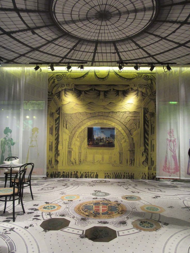 Booth at InPrint Milano - floor, wallpaper, curtains, ceiling, furniture entirely decorated on the Océ Arizona