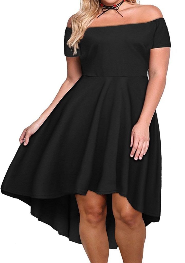 58933d6708 Nemidor Women's Off Shoulder Short Sleeve High Low Plus Size Cocktail  Skater Dress