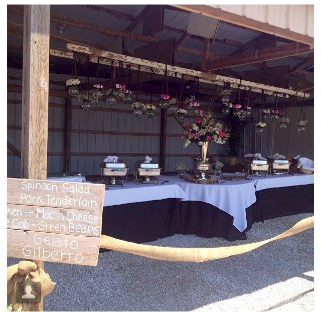 Outdoor Wedding Buffet With DIY Menu Sign