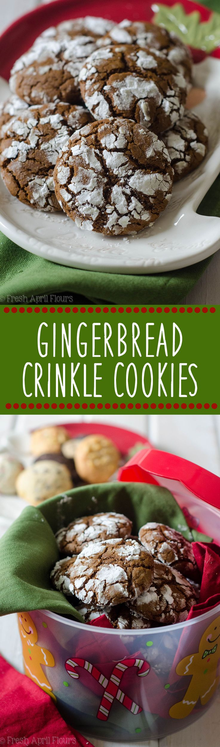 Gingerbread Crinkle Cookies: A crunchy, spicy cookie covered in sweet powdered sugar, perfect for dunking in a glass of eggnog. via @frshaprilflours