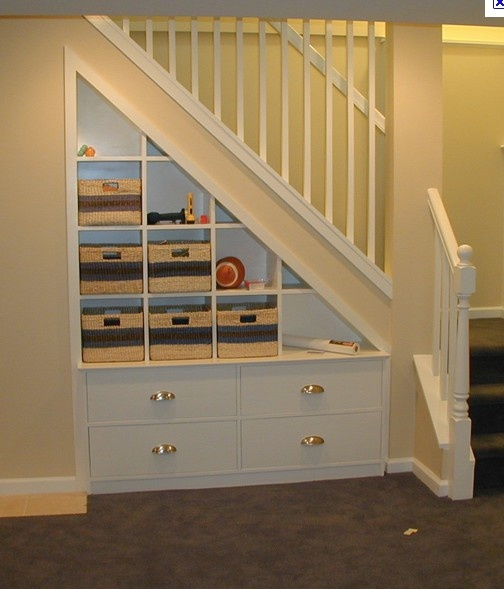 I wonder if this could fit on our staircase even though the basement stairs are on the other side? maybe just a very shallow shelf?