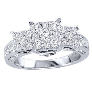 de couer 10k gold 1 1 2ct tdw pave diamond cluster engagement ring by de couer - Million Dollar Wedding Rings
