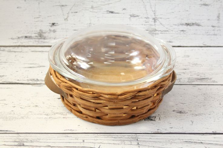Vintage Pyrex Casserole Dish With Woven Basket and Glass Lid 2 Quart Mixing Bowl Baking Cooking Ovenware Made in USA Clear by Corning by BrooklynBornFinds on Etsy
