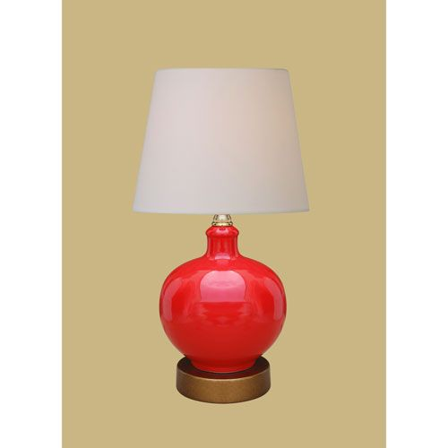 Porcelain Ware One Light Red Lamp