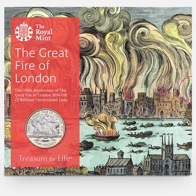 The 350th Anniversary of the Great Fire of London 2016 UK £2 BU