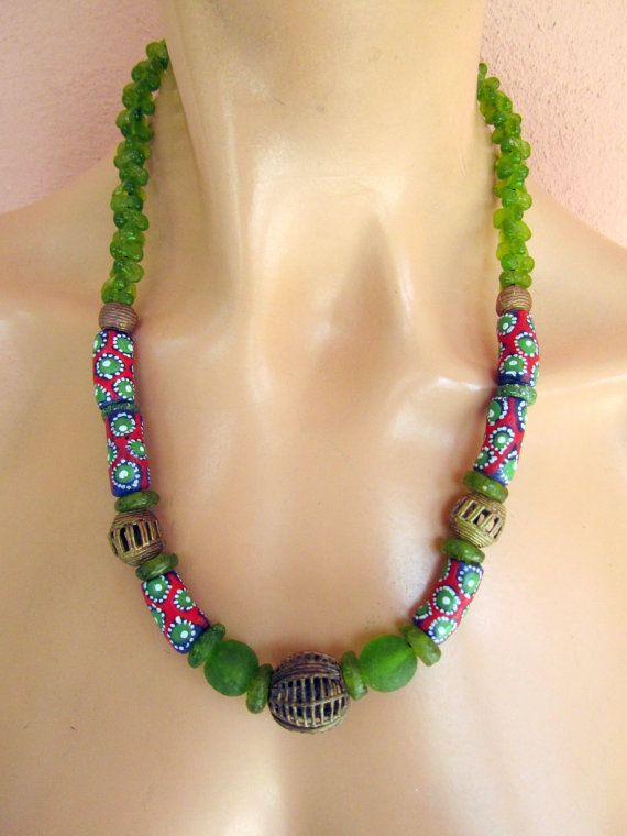 West african green and red recycled glass beads necklace by nad205