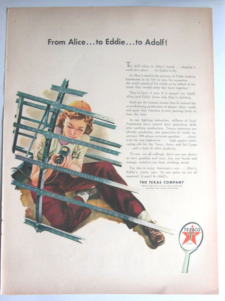 TEXACO B-52 FIGHTER JET AD 1943 original vintage WII WW2 feminist advertising