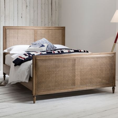 Frank Hudson Annecy Weathered King Size Bed- Shabby chic style rattan bed