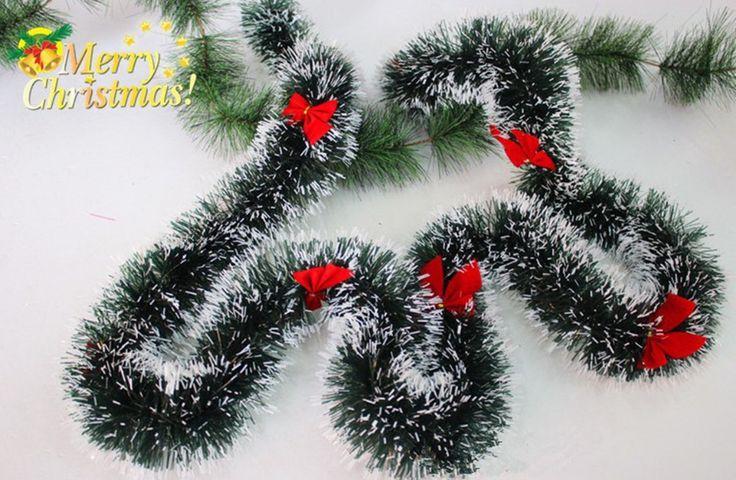 3pcs/lot 200CM Christmas Decoration Color Bar Tops Ribbon Garland Christmas Tree Ornaments Dark Green Cane Tinsel #Affiliate