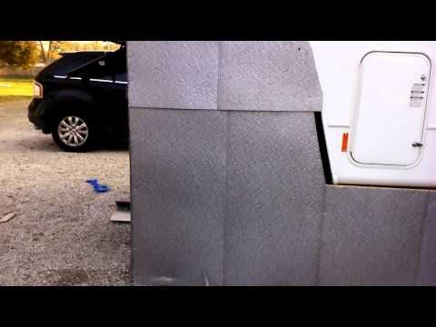 Cost effective winter RV skirting - YouTube