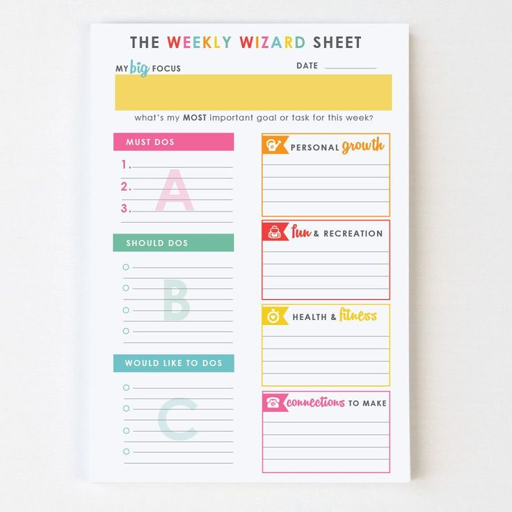 Weekly Calendar Sticky Notes : Weekly wizard™ sticky notes plan late into the night