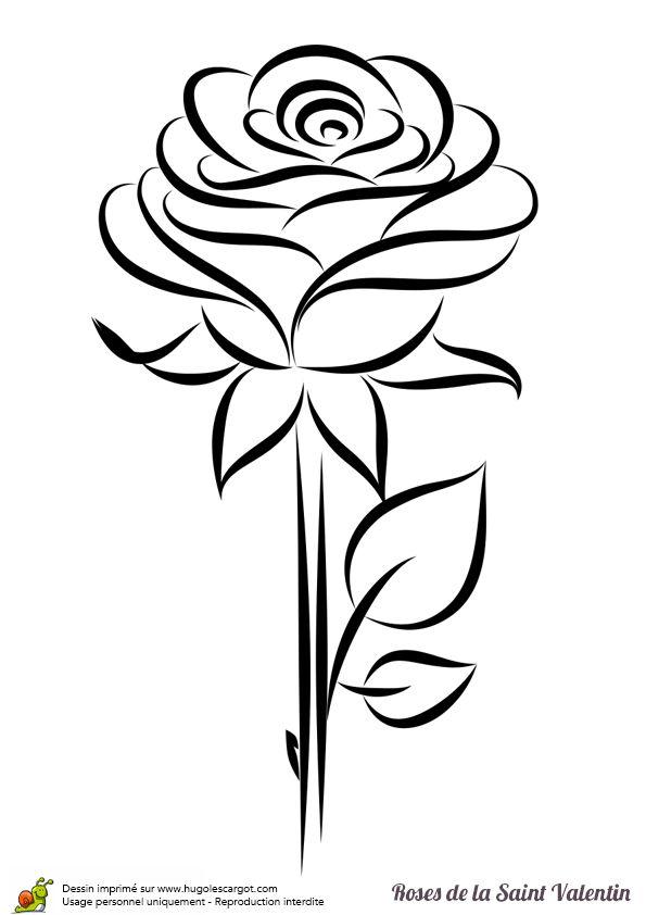 Coloriage d une rose sublime un cadeau touchant pour la - Coloriage d amoureux ...